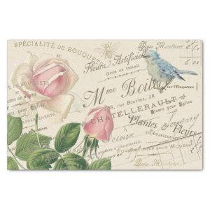 Vintage French Pink Rose Blue Bird Bee Collage  Tissue Paper