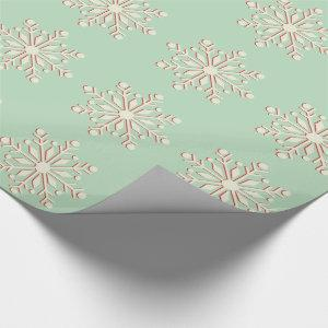 Vintage Green and Cream Snowflake Wrapping Paper