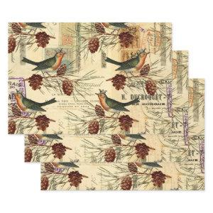 Vintage Green Birds and Pine Cones Wrapping Paper Sheets