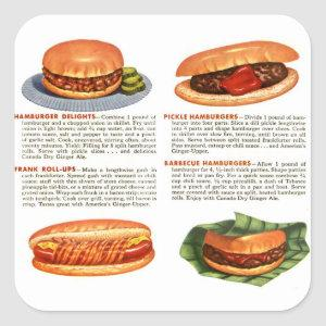 Vintage Hamburgers and Hot Dogs Square Sticker