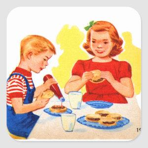 Vintage Hamburgers Kids Square Sticker