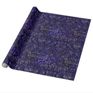 Vintage Indigo Blue Damask Wrapping Paper