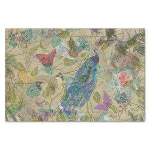 Vintage Ivory Green Blue Pink Peacock Collage Tissue Paper