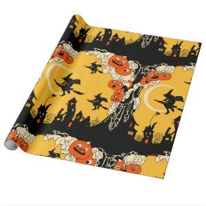 Vintage Jack o' Lanturns and Flying Witches Wrapping Paper
