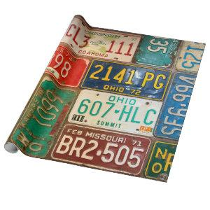 vintage license plate collection wrapping paper