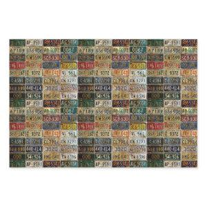Vintage License Plates Wrapping Paper
