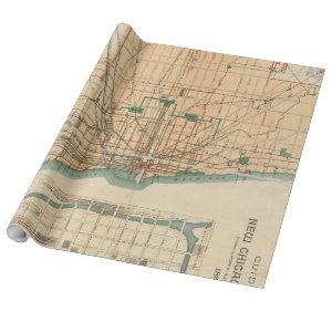 Vintage Map of Chicago Illinois (1889) Wrapping Paper