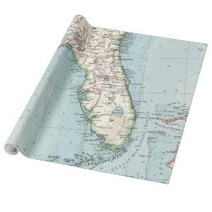 Vintage Map of Florida (1900) Wrapping Paper