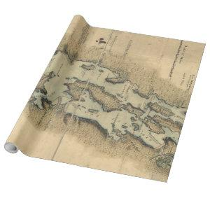 Vintage Map of Lake Champlain (1865) Wrapping Paper