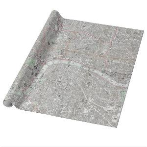 Vintage map of London city Wrapping Paper