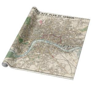 Vintage Map of London England (1853) Wrapping Paper