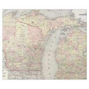 Vintage Map of Michigan & Wisconsin (1862) Wrapping Paper