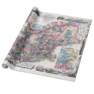 Vintage Map of New England Wrapping Paper