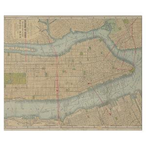 Vintage Map of New York City Manhattan Wrapping Paper