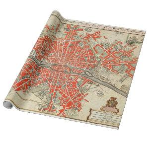 Vintage Map of Paris France (1721–1774) Wrapping Paper