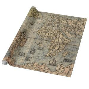 Vintage Map of The World (1565) Wrapping Paper