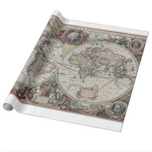 Vintage Map of The World (1630) Wrapping Paper