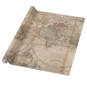 Vintage Map of The World (1709) Wrapping Paper