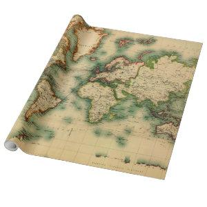 Vintage Map of The World (1911) - Stylized Wrapping Paper