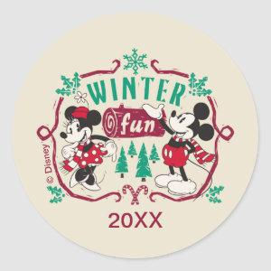 Vintage Mickey & Minnie | Winter Fun Classic Round Sticker