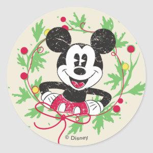 Vintage Mickey Mouse | Christmas Wreath Classic Round Sticker