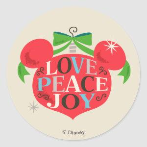 Vintage Mickey Mouse | Love, Peace & Joy Classic Round Sticker