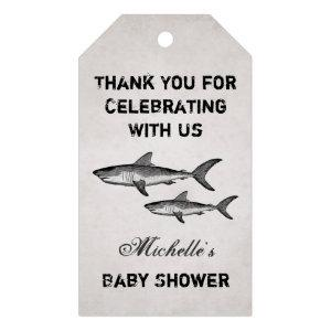 Vintage Mom and Baby Shark Ocean Beach Baby Shower Gift Tags