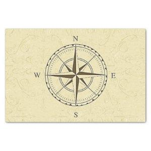 Vintage Nautical Compass Rose Ivory Tissue Paper