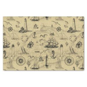 Vintage Nautical Pattern Old Map Decoupage Tissue Paper