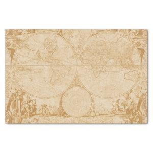 Vintage Old World Map Tan Decoupage Tissue Paper