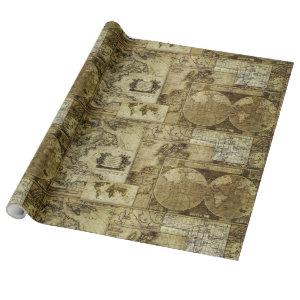 Vintage old world Maps Antique maps Wrapping Paper