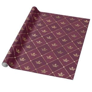 Vintage Paris Burgundy Red and Gold Crown pattern Wrapping Paper
