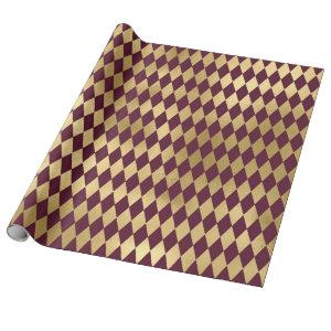 Vintage Paris Burgundy Red and Gold Diamond Wrapping Paper