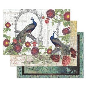 VINTAGE PEACOCK HEAVY WEIGHT DECOUPAGE PRINTS WRAPPING PAPER SHEETS