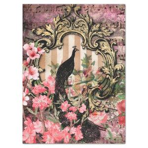 Vintage Peacock with Frame Pink Floral Decoupage Tissue Paper