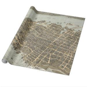 Vintage Pictorial Map of Charleston (1872) Wrapping Paper