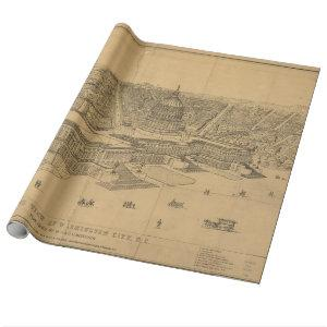 Vintage Pictorial Map of Washington D.C. (1872) Wrapping Paper