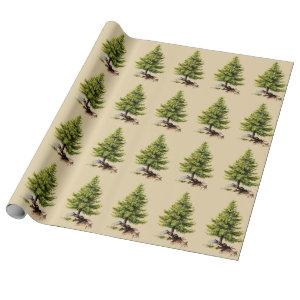 Vintage Pine Tree Christmas (Med. Image) Wrapping Paper
