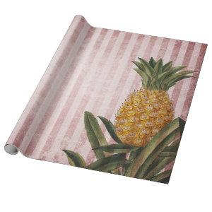Vintage Pineapple and Pink Stripes Wrapping Paper