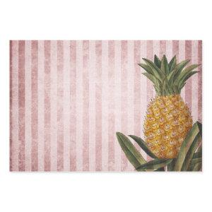 Vintage Pineapple and Pink Stripes Wrapping Paper Sheets