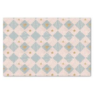 Vintage Pink Blue Checkerboard Playing Card Suits Tissue Paper