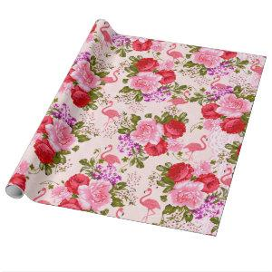 Vintage pink botanical flowers tropical flamingo wrapping paper