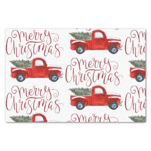 Vintage Red Truck Christmas Tissue Paper