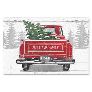 Vintage Red Truck with Christmas Tree Name Tissue Paper