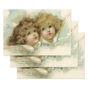 Vintage Religion, Victorian Angels in the Clouds Wrapping Paper Sheets