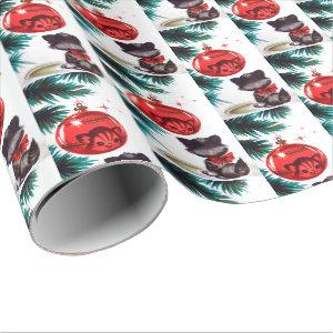 Vintage retro Christmas cat party wrap Wrapping Paper