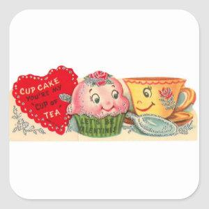 Vintage Retro Cupcake And Teacup Valentine's Day Square Sticker