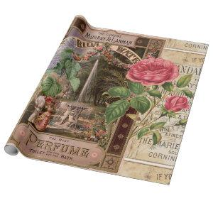 Vintage Retro Lilac Rose Perfume Soap Wrapping Paper