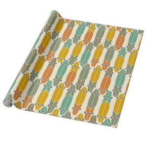 Vintage Retro Longboards Skateboards Patterned Wrapping Paper