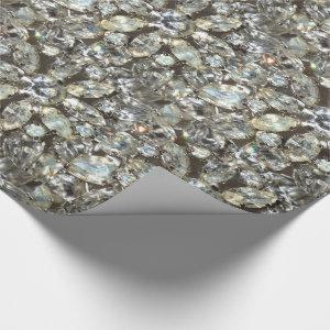 Vintage Rhinestone Diamond Bling Mirror Pattern Wrapping Paper